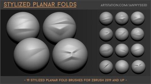 Stylized Planar Folds - 19 Brushes for ZBrush 2019 and up