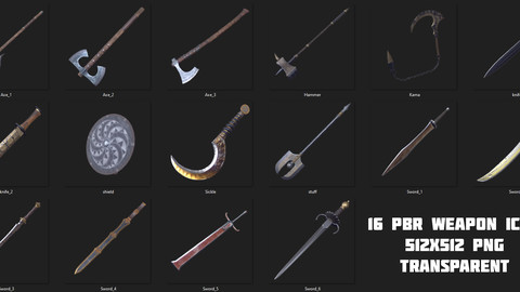 16 PBR WEAPON ICONS (PNG)