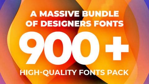 A Massive Bundle of Designers Fonts 900+ High-quality Fonts Pack.