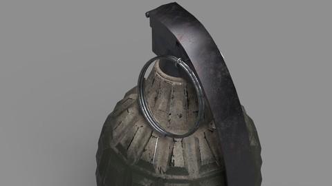 3D low poly model of hand grenade