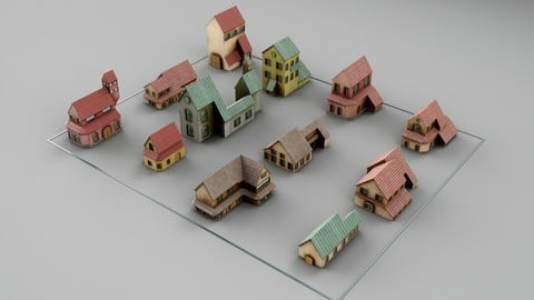 Kitbash Crowd Scene Houses 48 models [UV, Texture, Game ready topology]