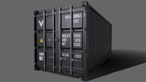PBR 20 ft Shipping Cargo Container Version 2 - Black