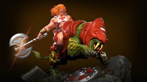 He-Man and Battlecat diorama
