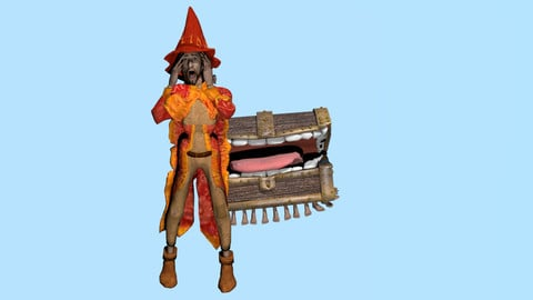 Wizard Rincewind and Luggage Low-poly 3D model