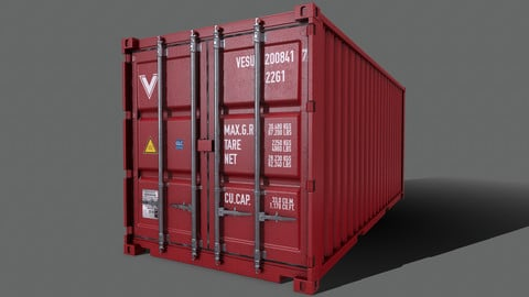 PBR 20 ft Shipping Cargo Container Version 2 - Red