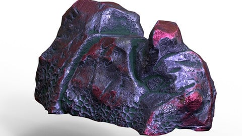 PBR Game-Ready Sci-Fi Alien Rock Low-poly 3D model