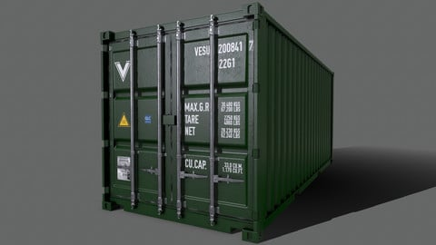 PBR 20 ft Shipping Cargo Container Version 2 - Green Dark