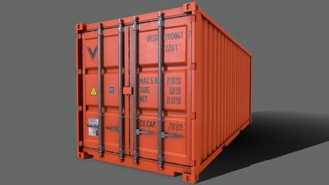 PBR 20 ft Shipping Cargo Container Version 2 - Orange