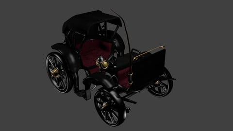 Victorian Horse Carriage Low-poly 3D model