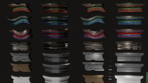 Roman roof tiles and cornices 87 pieces set low poly PBR