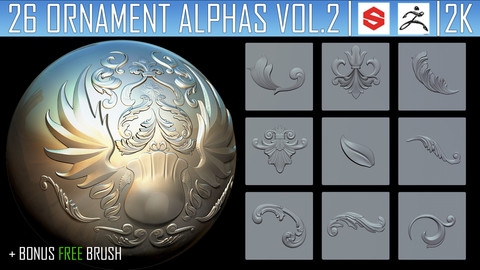 26 Ornament Alphas Vol.2 (ZBRush, Substance, PSD) + Free Brush