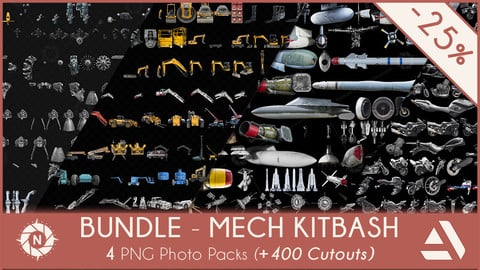 Bundle Mech Kitbash: 4 PNG Photo Packs