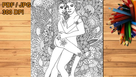 Floral love printable coloring page, digital stamp