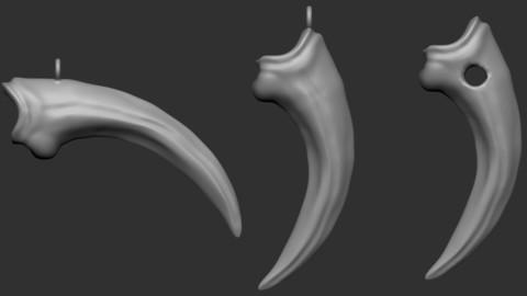 Velociraptor claw pendant (2 variations free) - 3D print