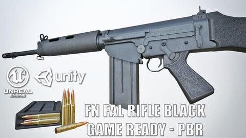 PBR FN FAL Black Game-Ready