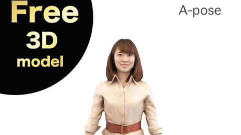Free 3D model A-Pose – 018_Kana
