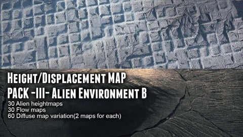 Height/Displacement map pack III Alien Environment B