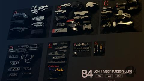 84 Sci-Fi Mech Kitbash Suite