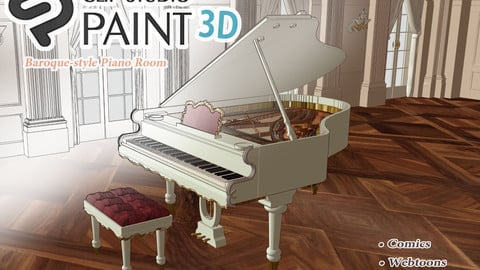 Baroque-style Piano Room (CLIP STUDIO PAINT 3D MODEL)