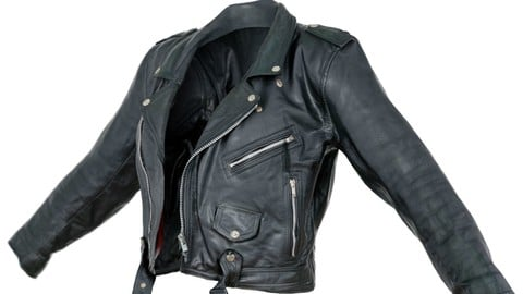 Vintage Jacket Moto Black Leather Open
