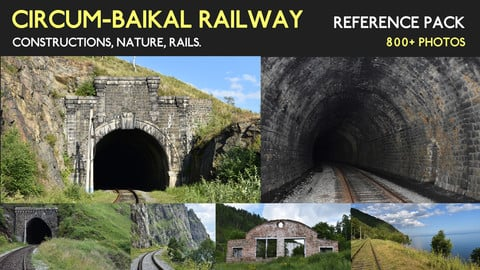 Circum-Baikal Railway Reference Pack. Tunnels (inside and outside), nature, rails.