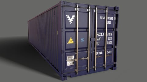 PBR 40 ft Shipping Cargo Container - Blue Dark
