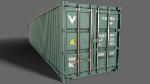 PBR 40 ft Shipping Cargo Container - Green Light
