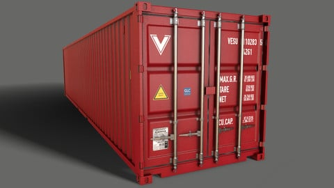 PBR 40 ft Shipping Cargo Container - Red