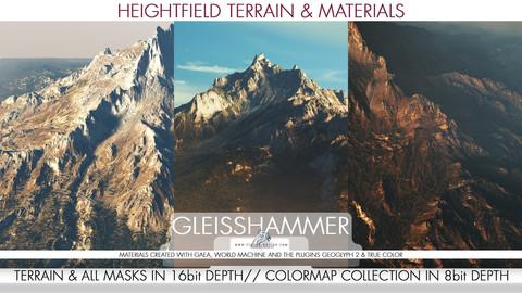8k & 4k Heightfield Terrain & Material - Gleisshammer