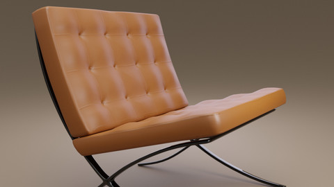 "Modern ""Barcelona-chair""-inspired 3D model"