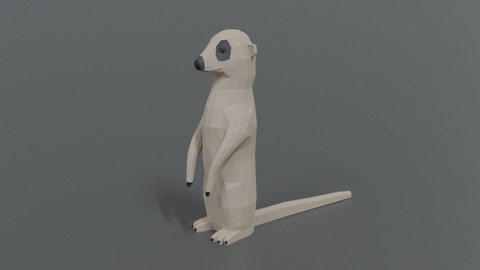 Low Poly Cartoon Meerkat