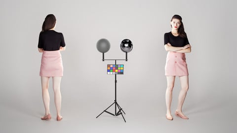 Young woman in a black sweater and a pink plaid skirt 206