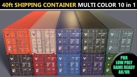 PBR 40 ft Shipping Cargo Container - Multi color Pack