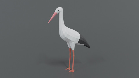 Low Poly Cartoon Stork