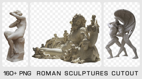 ROMAN SCLUPTURES CUTOUT- Photo reference pack - 160+ PNG & 1 bonus PSD