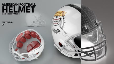 American Football Helmet ( Game ready model/ PBR Texture/UV )