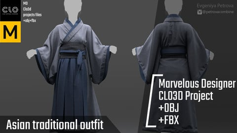 Asian traditional outfit. Clo3d, Marvelous Designer Project + FBX + OBJ