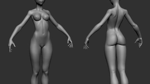 female stylized body Thin