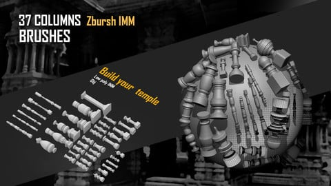 37 Columns Zbursh IMM brushes (Temple Builder kitbash (obj) )