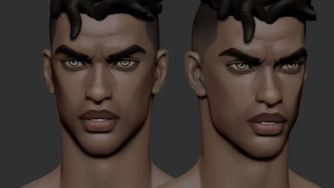 Stylized male head 55