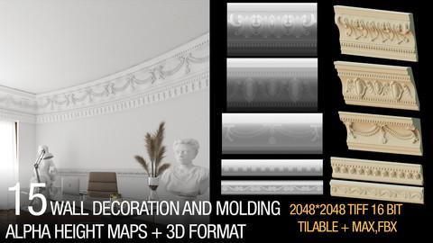 15 wall molding alphas + 3d formats(MAX,FBX)