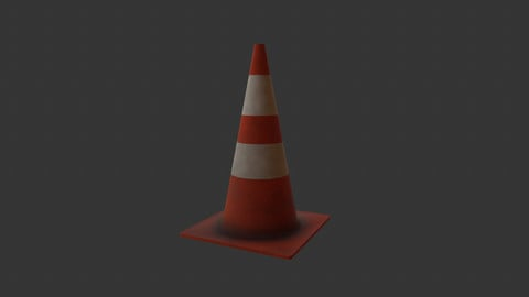 Street Cone - 4K Textures - Lowpoly PBR