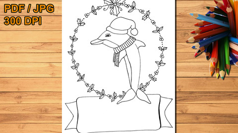 Christmas dolphin printable coloring page, digital stamp