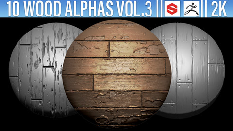 10 Wood Alphas Vol.3 (ZBRush, Substance, 2K, PSD)