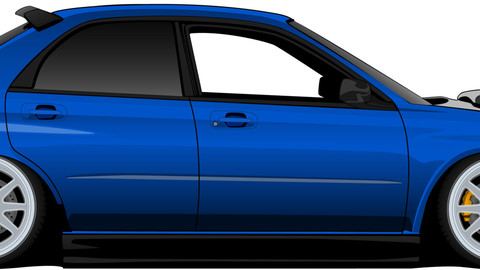 Blue Subaru wrx İllustration draw