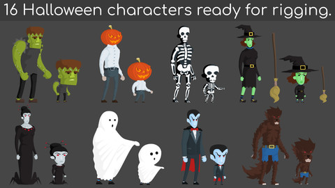 16 Halloween characters ready for rigging