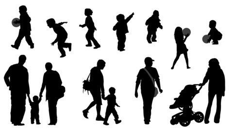 Vector Silhouettes - Parents and their kids set 01