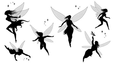 Fairies Silhouettes - Vector Set 01A