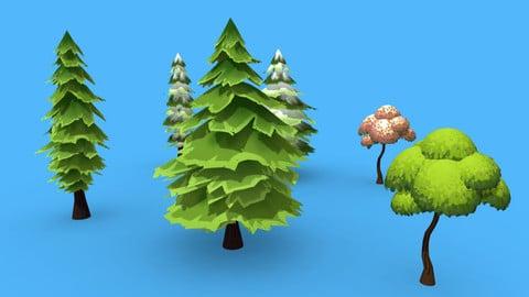 Stylized hand-painted Trees - Bundle