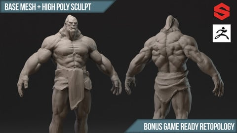 Orc High Poly Sculpture + Substance Files + Base Mesh